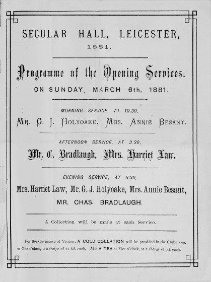 Programe for Opening of Secular Hall, image from LSS archive